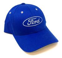 BLUE FORD MOTORS CLASSIC SCRIPT LOGO ADJUSTABLE HAT CAP CURVED BILL CASUAL RETRO
