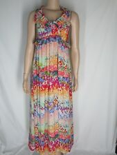 H&M Garden Collection Long Dress Stylized Floral 6 Ruffles