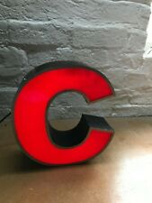 RECLAIMED VINTAGE INDUSTRIAL ILLUMINATED SHOP SIGN WALL ART - LETTER C