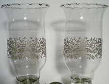 2  PARK LANE Etched Scroll Tall Clear Glass Votive Candle Cups Home Interiors