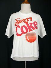 CHERRY COKE T Shirt L Womens White Pink Retro 80s Cropped Crop NEW