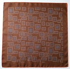 Brown & orange Silk pocket square handkerchief. Squares pattern print 45cm