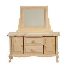 Bare Wood Dresser With Mirror, Dolls House Miniature Furniture Unfinished