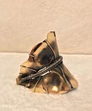 NEW LANVIN Antique Gold Tone Hammered CRYSTAL LEAF Slave Bracelet Cuff, Large