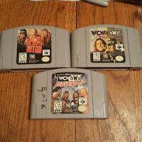 Nintendo 64 N64 Game Lot WCW Nitro, NWO Revenge , WCW VS NWO World Tour