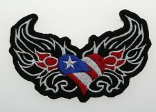 USA Heart and Wings Flag Embroidered Biker Patches
