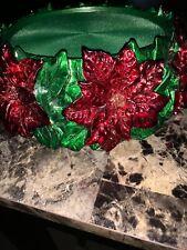 NEW Harry Slatkin Homeworx Pedestal Candle Holder Poinsettia Christmas Holiday