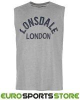 Lonsdale Mens Boxing Tank Vest Sleeveless T-Shirt S M L XL 2XL Gym Sports