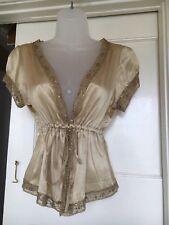 Ladies Gerard Darel Size T1 XS (Fits 6-8) Gold 100% Silk Top