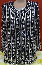 Size Large Pure Silk Jewel Queen Black Dress Cardigan w/ Silver Embellishments