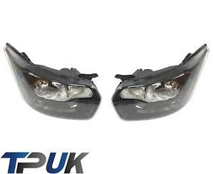 FORD TRANSIT MK8 FRONT HEADLIGHT HEADLAMP LEFT RIGHT BLACK 2014 ON PAIR NEW