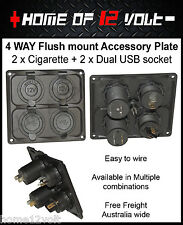 4way 12 Volt Accessory Plate Flush mount 2 x Cigarette + 2  Dual USB socket