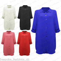 Ladies Women's Plus Size 3/4 Sleeve Crepe Button Long Shirt Blouse Dress Top