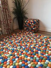 ❤️Multi Colour Pom Pom Felt Wool Ball Rug Rectangle 120cm x 180cm Hand Made