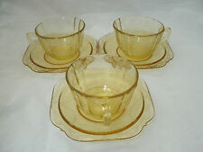 Federal Glass MADRID Amber 3 Coffee Tea Cup & Saucer Sets Depression Retired EC