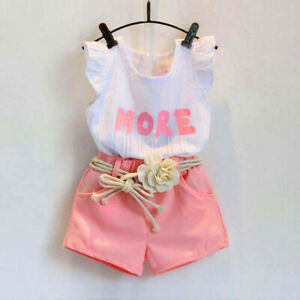 Summer Kids Baby Girls Outfits Clothes Ruffled T Shirt Tops + Shorts +Belt Set £