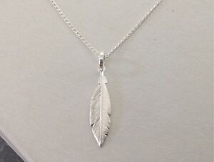 925 Sterling Silver Feather Necklace or Pendant Small Gift Boxed solid silver