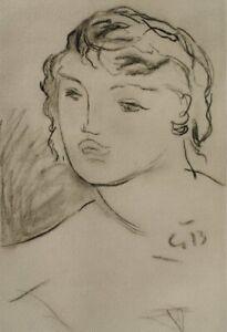 Georges BRAQUE : Portrait de femme - GRAVURE signée, 1950