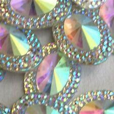 13x18mm 20pcs Crystal AB Glitter Oval Fancy Strass Acrylic Rhinestones Sew-on