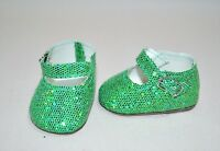"""Fits American Girl Dolls Our Generation 18"""" Doll Clothes Green Glitter Shoes"""