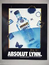 Absolut Vodka - Absolut Lynn PRINT AD - 1995 ~~ Jenny Lynn
