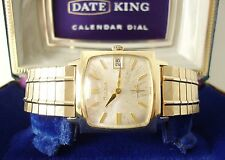 Vintage Bulova 'Date King' Men's Watch c1965, Running, Orig Band and Display Box