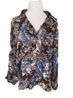 Coldwater Creek XL Button Up Ruffeled Collar Blue And Brown Floral Blouse.