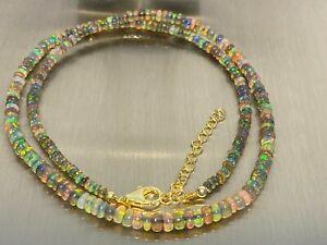 Äthiopischer Opal GRAU Kette Collier 925 Silber 45+5 cm /ca 35 Carat   RAR