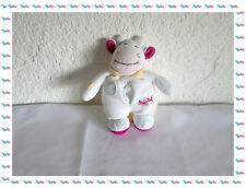 A - Doudou Peluche Vache Blanche Rose Taches Petit Mouchoir  Baby Nat