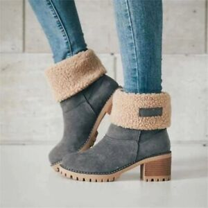 Winter Fur Warm Snow Boots Women wool booties size 35-43 Casual Outdoor Shoes