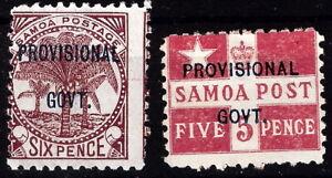 Samoa 1899 Provisional Govt Flag and Palm MNH (SC# 35-36)