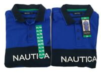 Nautica Men's Lot Of 2 Blue Classic Short Sleeve Tipped Polo Shirts Size XL