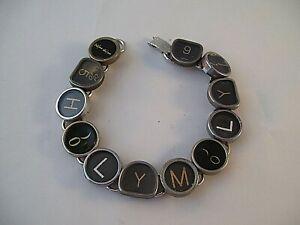 Vintage Typewriter Key Bracelet HOLY MOLY 12 Glass Keys Hand Made OOAK