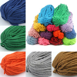 DIY 5mm Cotton Cord Thread Twisted Braided Cotton Rope New