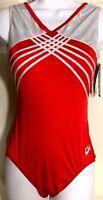 WAS $59.99 GK Elite RED SUPERSTAR Nylon Spandex Foil Gym Dance Tank Leo Sz AXL