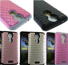 For T-Mobile Revvl Plus - Hybrid HARD&SOFT Rubber Armor Diamond Bling Case Cover