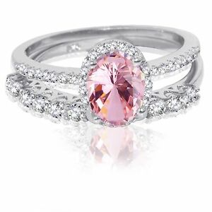 Oval Pink Sapphire Thin Simulated Diamond Engagement Sterling Silver Ring Set