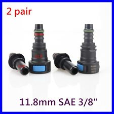 """2 pair 11.8mm SAE 3/8"""" Fuel Line Quick Connect Release Disconnect Connector Gas"""