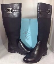 NEW LIFE STRIDE Womens Boots Size 8 Long Zip Black Faux Leather Cushion Shoes