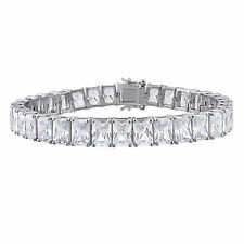 Amour Sterling Silver 50ct TGW Rectangular-Cut Cubic Zirconia Tennis Bracelet