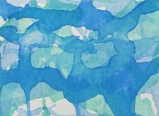 BLUE GREEN SEASCAPE Watercolor ACEO Abstract Painting 2.5x 3.5 Julia Garcia NEW
