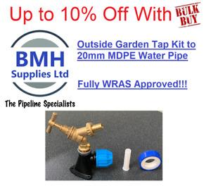 """Brass Hose Union Bib Tap 1/2"""" Kit C/W 20mm Wall Plate Elbow - Outdoor Garden Tap"""