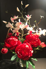 Nearly Natural 1175-YL 1175-RD Peony and Orchid Silk Flower Arrangement- Red