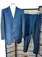 50s 60s Vtg ~ Witty Bros Ny ~ Blue Sharkskin Suit ~ Ultra-Fine Mcm ~ 44 / 36