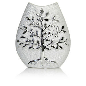 20cm Small Tree of Life Ceramic Leaf Shape Vase Decorative Ornament Silver New