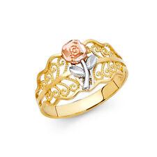 Women 14k Yellow Tri Tone Real Gold Flower Leaf Milgrain Fancy Fashion Ring Band