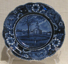 """19th Century Clews Flow Blue 7 3/4"""" Plate A Winter View Of Pittsfield, Mass"""