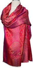 Pashmina Schal 100% Seide scarf silk foulard soie seta sciarpa Pink écharpe