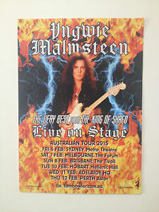 YNGWIE MALMSTEEN 2015 Australian Tour Poster A2 Rising Force Spellbound **NEW**