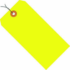 """Box Partners Shipping Tags Pre-Wired 13 Pt. 3 3/4"""" x 1 7/8"""" Fluorescent Yellow"""